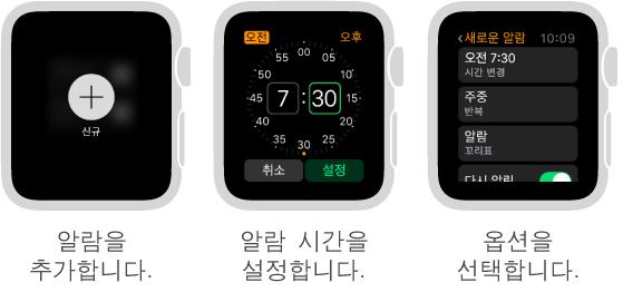 다음 5가지 시계 화면에서 알람을 추가하는 과정을 보여줍니다. 눌러서 알람 추가, Digital Crown을 돌려서 시간 설정, 설정에서 옵션 설정, 반복 옵션 설정, 다시 알림 켜기.