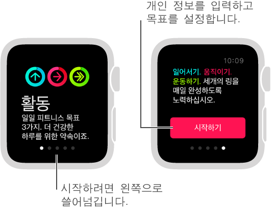 활동 App에서 일어서기, 움직이기, 운동하기의 3가지 일일 피트니스 목표를 설정할 수 있습니다.