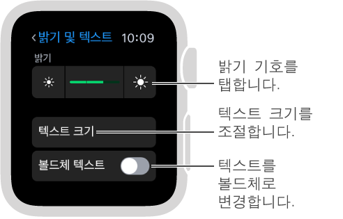 밝기 기호가 양끝에 있는 슬라이더에 밝기 기호를 탭합니다 설명 풍선이 있는 Apple Watch의 밝기 설정 화면입니다. 텍스트 크기 설명 풍선: 텍스트 크기를 조절합니다. 볼드체 텍스트 설명 풍선: 텍스트를 볼드체로 변경합니다.