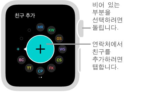 Apple Watch의 친구 화면입니다. 친구의 이니셜이나 사진을 탭하여 친구에게 연락하십시오.