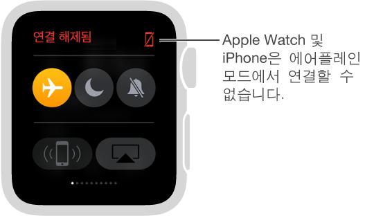 시계 및 iPhone의 연결 상태를 보고 에어플레인 모드, 방해금지 모드 및 소리 끔을 설정할 수 있는 설정 한눈에 보기입니다. iPhone의 연결을 확인할 수도 있습니다. 에어플레인 모드가 선택되어 있고 상태는 연결 해제됨입니다.