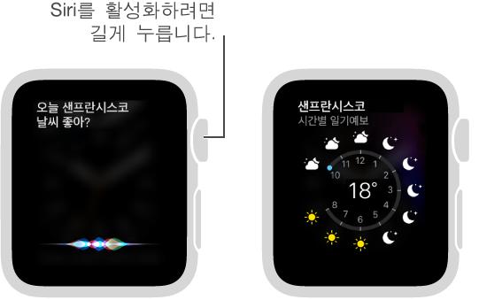 Digital Crown을 길게 누르고 Siri에게 요청하십시오. Siri에게 샌프란시스코의 날씨를 묻고 Siri가 오늘 샌프란시스코의 날씨를 표시하는 화면입니다.