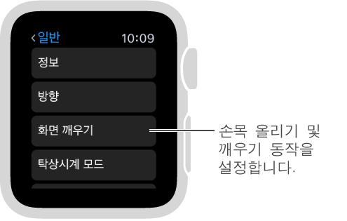 포인터가 손목 올렸을 때 활성화 옵션을 가리키고 있는 Apple Watch의 일반 설정 화면입니다. 설정하려면 탭하십시오.