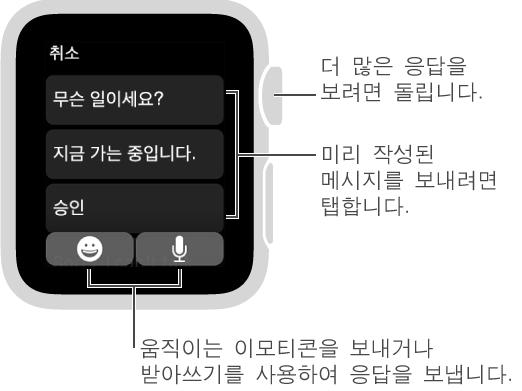 """상단에 취소 버튼과 세 개의 미리 설정 답장이 표시된 메시지 화면입니다(""""무슨 일이세요?"""", """"지금 가는 중입니다."""", and """"알겠습니다.""""). 하단의 두 개의 버튼: 이모티콘 및 마이크."""