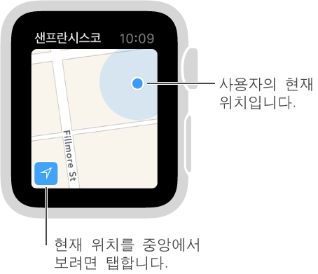 지도의 왼쪽 하단에 있는 추적 버튼을 탭하여 사용자의 위치를 봅니다. 파란색 점으로 표시됩니다.