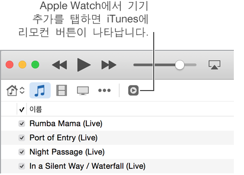 Apple Watch에 보관함을 추가하려고 하면 iTunes의 리모컨 버튼이 나타납니다.