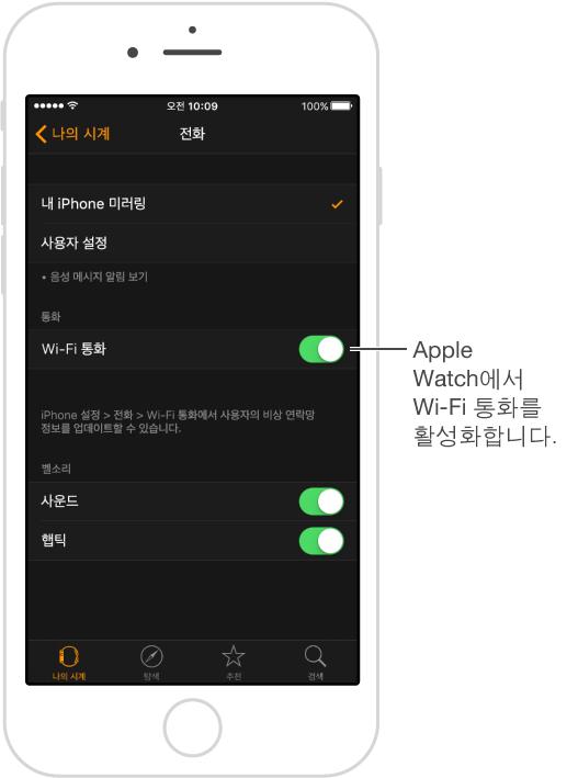 Wi-Fi 통화 스위치는 전화 설정 화면의 오른쪽에 있습니다.