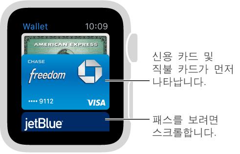 Apple Watch의 Passbook 화면에 먼저 결제 카드가 나타나며 아래에 패스가 나타납니다.