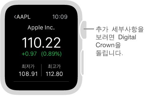 주식 App의 주식 정보입니다. 추가 세부사항을 보려면 Digital Crown을 돌립니다.