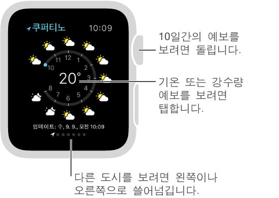 날씨 App에서 시간별 기온 또는 강수량 예보로 전환하려면 현재 기온을 탭하십시오. 아래로 스크롤하여 10일간 예보를 보십시오. 다른 도시의 일기 예보를 보려면 왼쪽이나 오른쪽으로 쓸어넘기십시오.