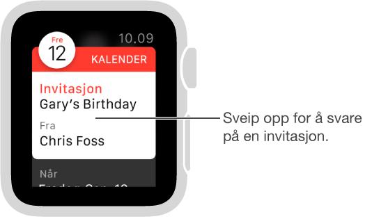 Ja-, Kanskje- og Nei-knappene er nederst i kalenderinvitasjoner. Sveip, eller skru på Digital Crown for å gå til dem.