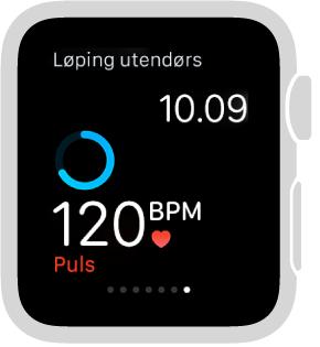 Under en treningsøkt kan du sveipe nederst på skjermen for å sjekke pulsen.
