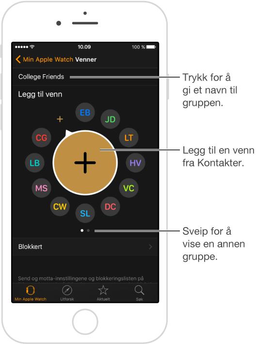 Venner-skjermen i Apple Watch-appen, der du ser venner som fylles ut fra fleroppgaveskjermen, og der du kan trykke på Legg til venn for å legge til en ny person.