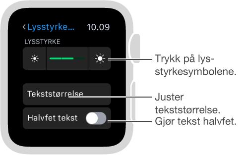 Lysstyrke-innstillingsskjerm på Apple Watch med bildeforklaring for lysstyrkesymbolene i hver ende av skyveknappen: Trykk på lysstyrkesymbolene; bildeforklaring for Tekststørrelse: Juster tekststørrelse; bildeforklaring for Halvfet tekst: Gjør tekst halvfet.