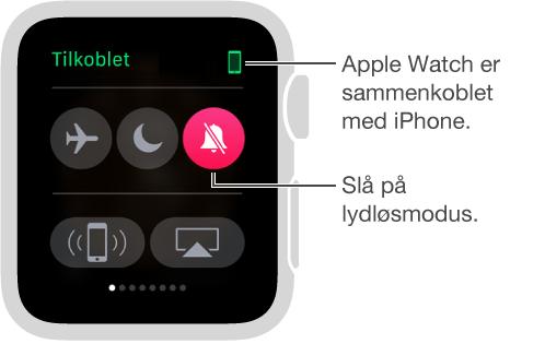 Innstillinger-overblikket der du kan se tilkoblingsstatus for klokken og iPhone og slå på Flymodus, Ikke forstyrr og Lyd av. Du kan også pinge iPhone. Lyd av er valgt.