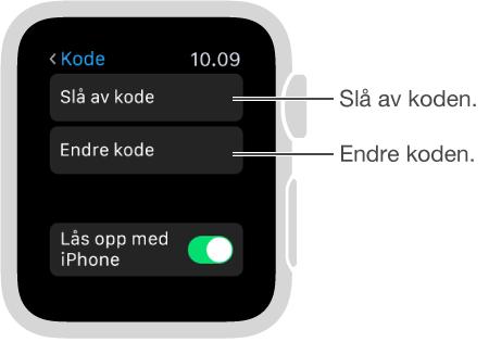 Skjermen for kodeinnstillinger på Apple Watch. Peker til Deaktiver kode og Endre kode.