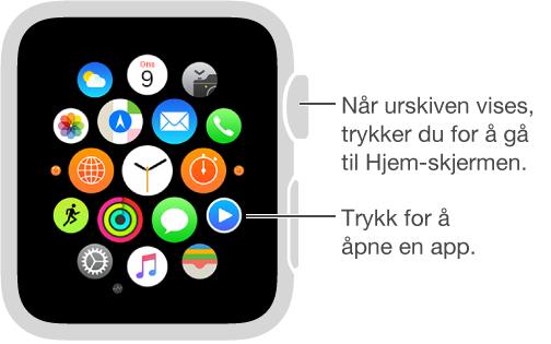 Hjem-skjermen på Apple Watch der du trykker på en app for å åpne den. Trykk på Digital Crown fra urskiven for å åpne Hjem-skjermen.