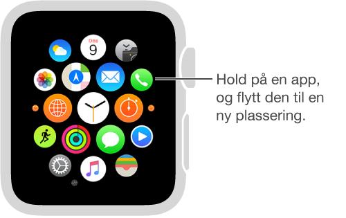 Hjem-skjerm på Apple Watch med apper som vibrerer og er slått sammen til samme størrelse. Du kan flytte apper til nye plasseringer.