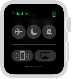 Innstillinger-overblikket der du kan se tilkoblingsstatus for klokken og iPhone og slå på Flymodus, Ikke forstyrr og Lyd av. Du kan også pinge iPhone. Ping iPhone er valgt.