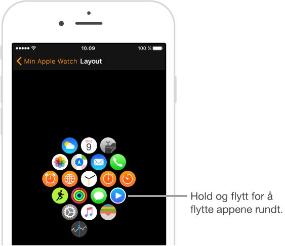Layoutskjermen som viser applayouten på Apple Watch-appen på iPhone. Hold og flytt for å flytte appene rundt.