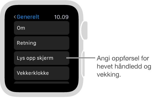 Skjermen for generelle innstillinger på Apple Watch, med peker til valget Aktiver når armen løftes. Trykk for å angi valget.