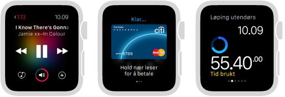 Tre Apple Watch-skjermer som viser alternativer for å bruke klokken uten en tilhørende iPhone i nærheten: spille musikk, sjekke aktivitetsprogresjon og løping – skjermen viser tiden brukt på en treningsøkt.