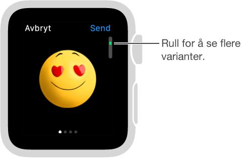 Meldinger-skjermen med emoji i midten. Du kan rulle for å endre uttrykket og se flere variasjoner over temaet.