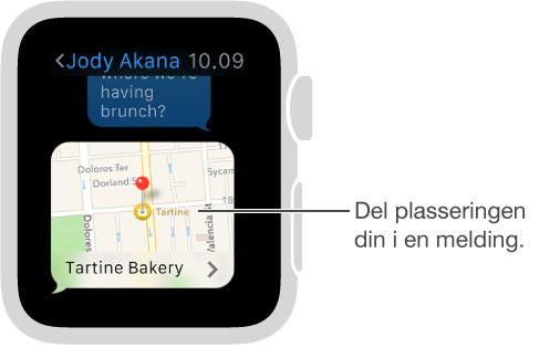 Meldinger-skjerm som viser et kart over avsenderens plassering. Trykk hardt på skjermen for å sende plasseringen din i en samtale.