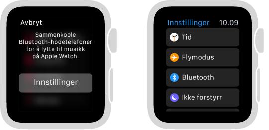 Hvis du bytter musikkilden til Apple Watch før du sammenkobler Bluetooth-høyttalere eller hodetelefoner, vises en Innstillinger-knapp midt på skjermen. Her finner du Bluetooth-innstillingene på Apple Watch, hvor du kan legge til en lytteenhet.