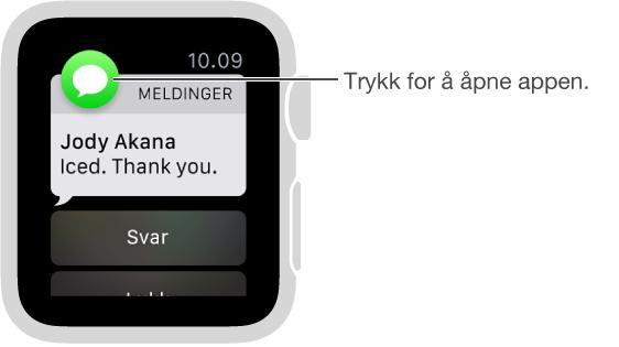 Symbolet for appen som tilhører varslingen, vises øverst til venstre. Du kan trykke på den for å åpne varslingsinnholdet i appen.