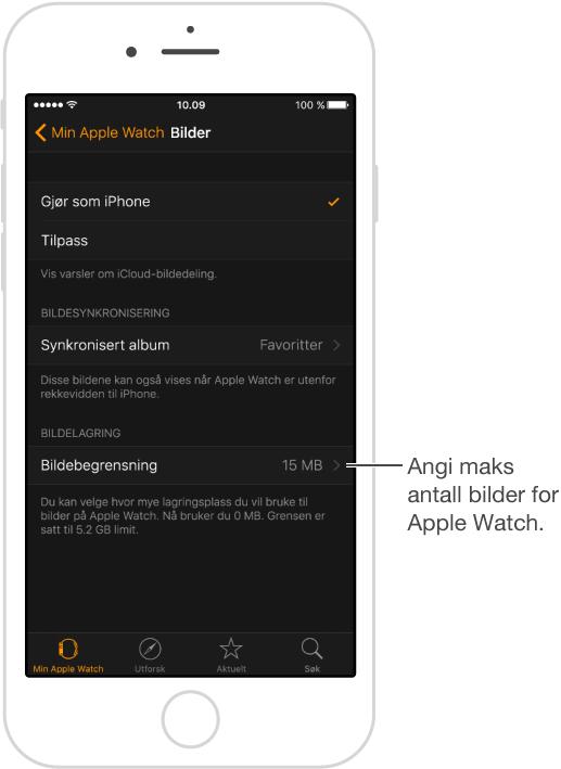 Bilder-skjerm i Apple Watch-appen på iPhone, der du kan velge hvilket album som skal synkroniseres og angi en grense for bildelagring på Apple Watch.