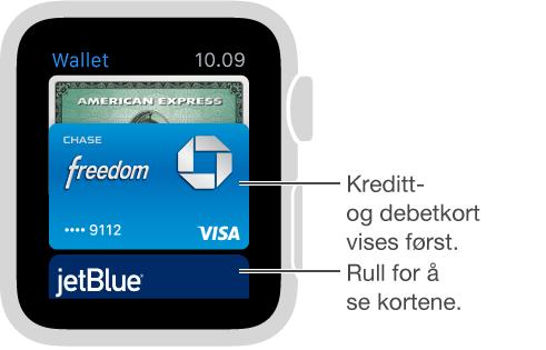 Wallet-skjermen på Apple Watch viser betalingskort først og andre kort under.