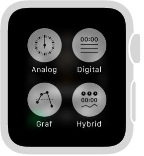 Mens du bruker Apple Watch som stoppeklokke, trykker du på skjermen for å endre formatet. Velg Analog, Digital, Graf eller Hybrid.