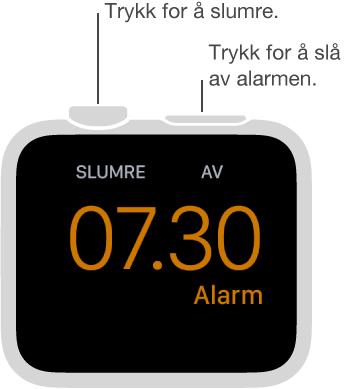 Trykk på Digital Crown for å slumre eller på sideknappen for å slå av alarmen når klokken er i vekkerklokkemodus.