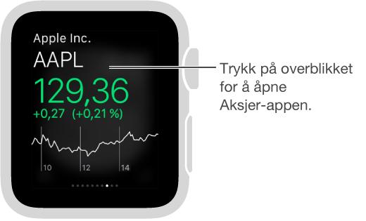 Trykk på Aksjer-overblikket for å åpne Aksjer-appen.