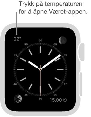 Trykk på temperaturen på en urskive for å åpne Været-appen.