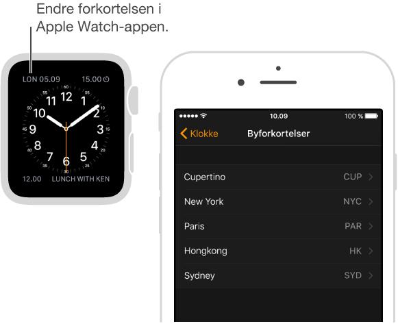Urskive med peker til tiden i London, med forkortelsen LON. Neste skjerm viser alternativet i Apple Watch på iPhone, hvor du kan endre forkortelsen for bynavn.