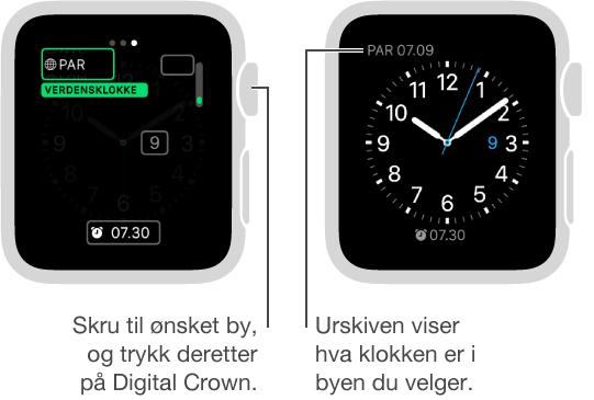 To urskiver: én viser tiden i en annen by som legges til på urskiven, og den andre viser tiden som vises på urskiven.