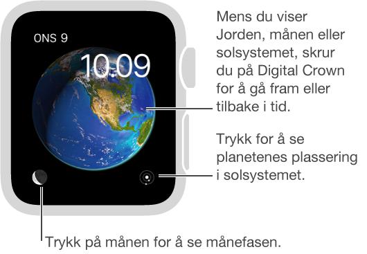 Astronomi-urskiven, som viser dag, dato og gjeldende klokkeslett, som du ikke kan endre. Du kan vise jorden, månen eller solsystemet på urskiven og trykke på skjermen for å se planetenes posisjon, månefasene og annen informasjon.