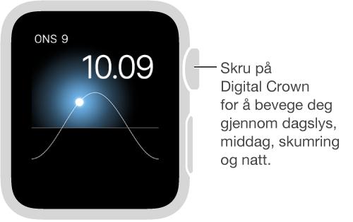 Solar-urskiven viser dag, dato og gjeldende klokkeslett, som du ikke kan endre. Skru på Digital Crown for å flytte solen på himmelen til skumring, daggry, senit, solnedgang og mørke.