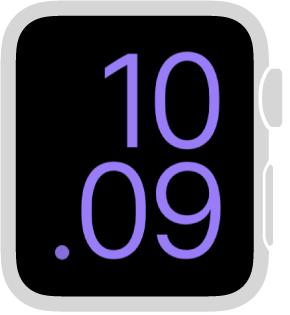 Forstørret-urskiven viser tiden i digitalt format, og fyller skjermen. Du kan endre fargen.