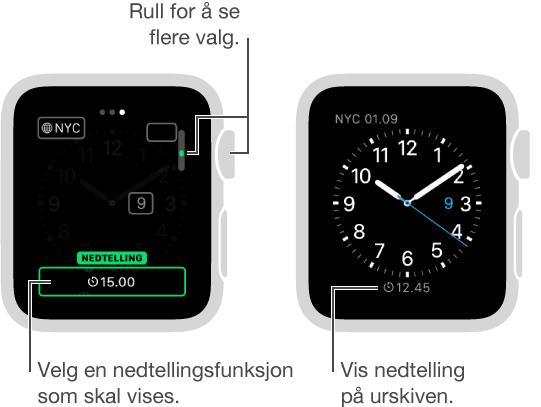 To skjermer, der den ene viser at nedtelling legges til på en urskive, og den andre viser nedtellingen på urskiven.