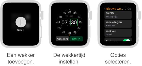 Drie AppleWatch-schermen waarin te zien is hoe u een wekker instelt: Druk op het scherm om een wekker toe te voegen, draai de DigitalCrown om de tijd in te stellen en geef instellingen op voor onder andere herhalen en sluimeren.