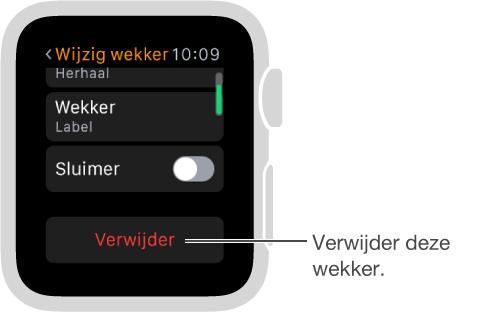 Het 'Wijzig wekker'-scherm, waar u omlaag scrolt om een wekker te verwijderen.