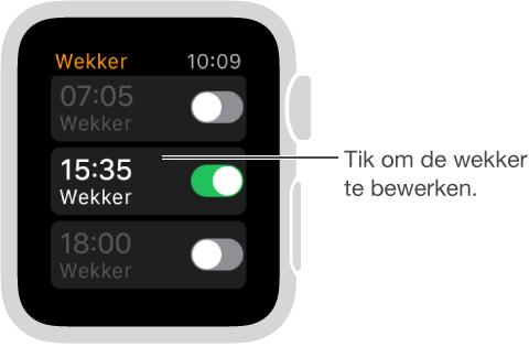 Wekker-scherm met drie wekkers en knoppen om ze in of uit te schakelen.