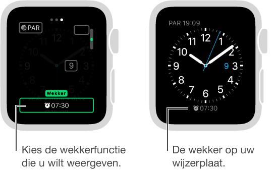 Twee schermen. Op het ene scherm is te zien hoe u een wekker aan uw wijzerplaat toevoegt. Op het andere scherm is de toegevoegde wekker op de wijzerplaat te zien.