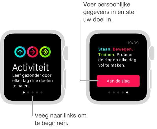 U kunt in de Activiteit-app drie dagelijkse fitnessdoelen instellen: Staan, bewegen en trainen.