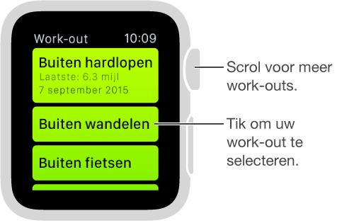 Tik in de Work-out-app om een work-out te selecteren en draai vervolgens de DigitalCrown om de lijst met work-outs te zien.