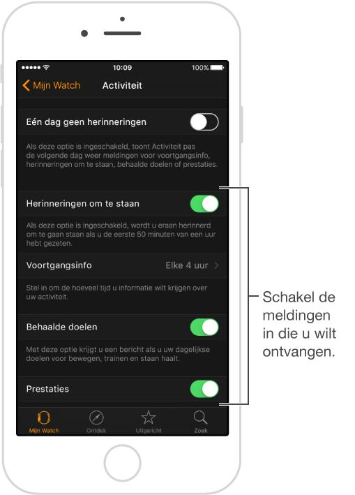 Activiteit-scherm in de AppleWatch-app, waar u kunt instellen welke meldingen u wilt ontvangen en waar u kunt aangeven of de snelle blik Activiteit wel of niet moet worden getoond.