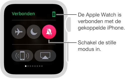 De snelle blik Instellingen, waar u kunt zien of uw AppleWatch en uw iPhone met elkaar verbonden zijn en waar zich knoppen bevinden om 'Vliegtuigmodus', 'Niet storen' en 'Houd stil' in te schakelen. U kunt uw iPhone ook een signaal sturen. Stilhouden is ingeschakeld.